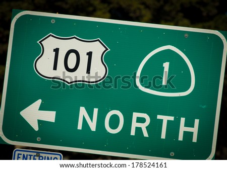 Interstate 101 and PCH highway sign from California - stock photo