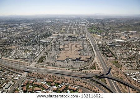 Interstate 10 and US 60 Interchange near Phoenix, Arizona from above - stock photo