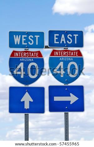 Interstate 40 direction sign in Arizona USA - stock photo