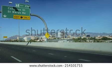 Interstate-10 exit to downton of Tucson, Arizona - stock photo