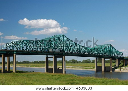 Interstate highway crosses over the Cain Of Rocks canal, on the Mississippi River, just north of St. Louis - stock photo