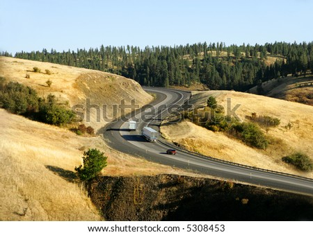 Interstate Highway in Oregon Mountains, USA - stock photo