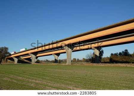 Interstate highway inclined over the Sacramento River near Woodland, California