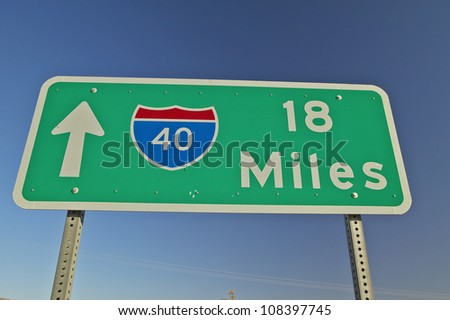 Interstate Highway sign for Interstate 15 in Southern California in Mojave Desert