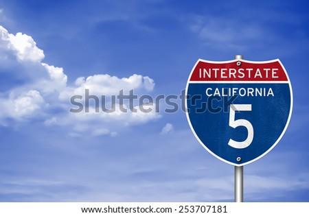 Interstate Highway to California - stock photo