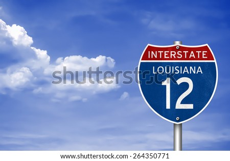 Interstate Highway to Louisiana - stock photo