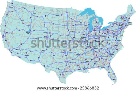 Us Road Map Stock Images RoyaltyFree Images Vectors Shutterstock - Continental us road map