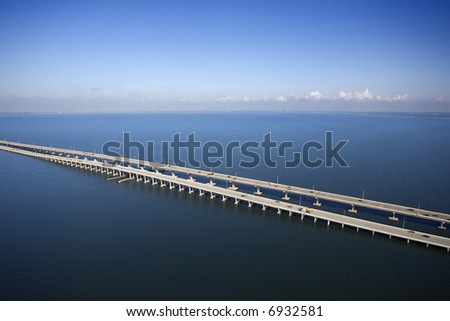 Interstate 275 over Howard Aerial of Frankland Bridge over Old Tampa Bay, Flordia. - stock photo