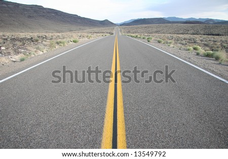Interstate road going through Death Valley. California. USA