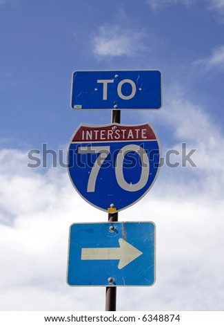 interstate 70 sign - stock photo