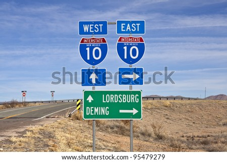 Interstate 10 sign in southern New Mexico's vast empty desert. - stock photo