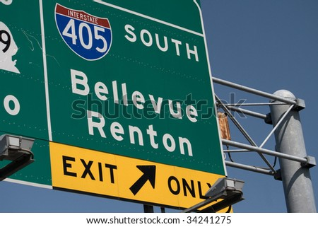 Interstate 405 South Bellevue Renton Exit part of the highway system in Washington State near Seattle. - stock photo
