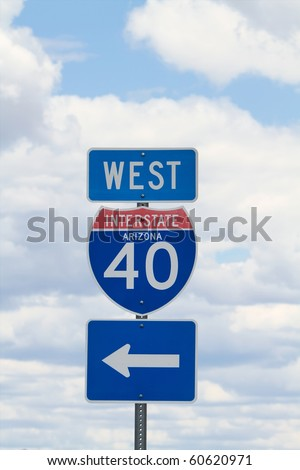 Interstate 40 west road sign - stock photo
