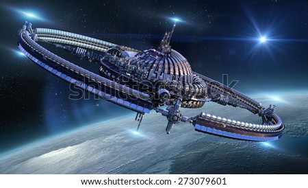 Interstellar spaceship with dome core and gravitation wheel, near Earth like planet, for futuristic or fantasy backgrounds - stock photo