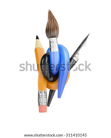 intertwined pencils paint brush and pen isolated on white background - stock photo