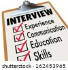Interview Checklist Job Candidate Qualifications - stock photo