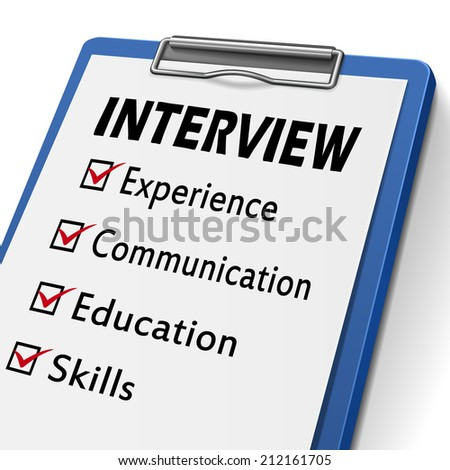 interview clipboard with check boxes marked for experience, communication, education and skills - stock photo