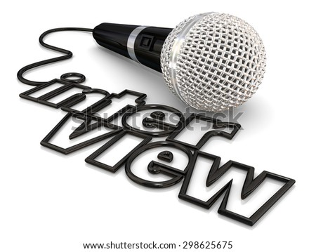 Interview microphone cord word to illustrate a guest being asked questions on a radio, podcast or television program or discussion - stock photo