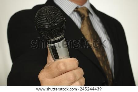 Interview News Reporter Journalist - stock photo