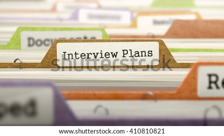 Interview Plans Concept on Folder Register in Multicolor Card Index. Closeup View. Selective Focus. 3D Render. - stock photo