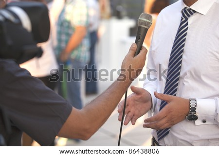 Interview with a businessman - stock photo