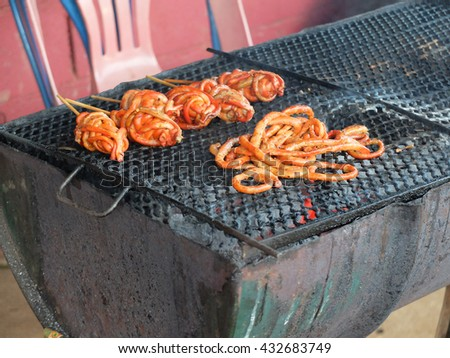 Intestine grilled barbecued chicken