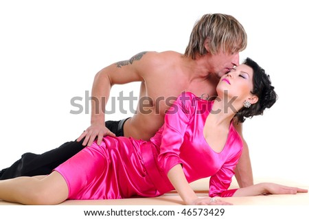 intimate young couple during foreplay in bed. isolated on white - stock photo