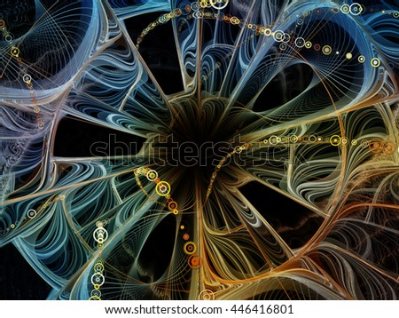 Into Infinity series. Abstract arrangement of fractal patterns, curves and symbols suitable as background for projects on math, technology, science and education - stock photo