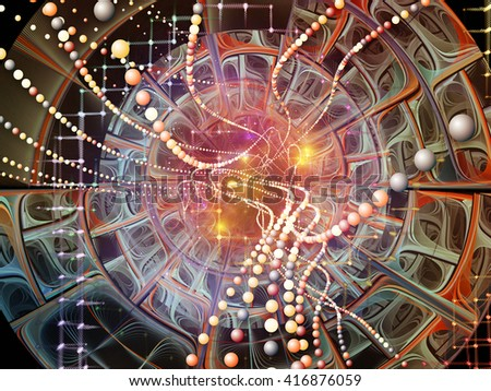 Into Infinity series. Abstract design made of fractal patterns, curves and symbols on the subject of math, technology, science and education - stock photo