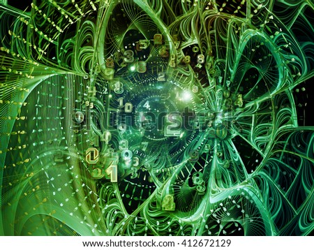 Into Infinity series. Backdrop composed of fractal patterns, curves and symbols and suitable for use in the projects on math, technology, science and education - stock photo