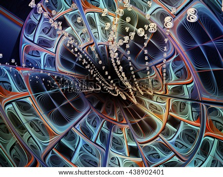 Into Infinity series. Creative arrangement of fractal patterns, curves and symbols for subject of math, technology, science and education - stock photo