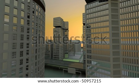 into the city - modern city view - hdtv - stock photo