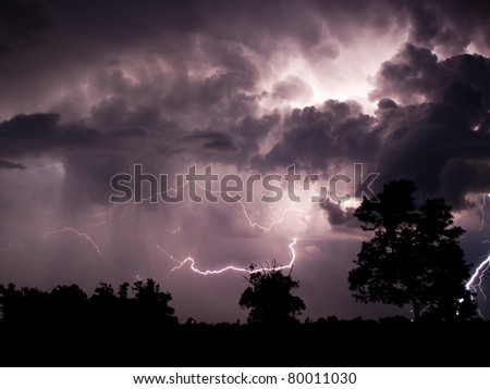 Intra cloud, cloud to cloud and cloud to ground lightning - stock photo
