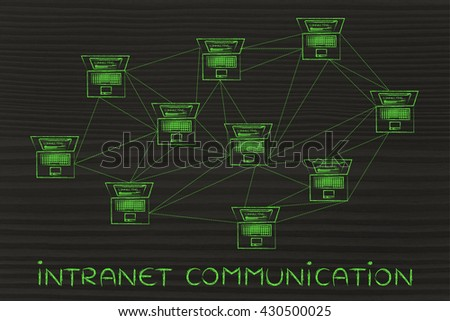 intranet communication: computer network with multitude of connections creating a low poly style pattern - stock photo