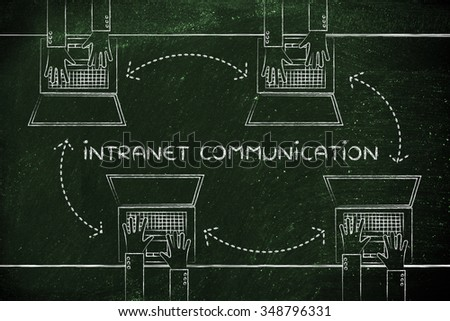 intranet communication: hands typing on laptops with arrows for communication and data exchange - stock photo