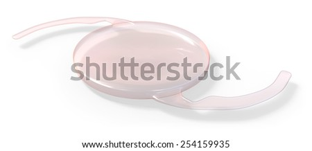 Intraocular lens implant isolated on white - stock photo