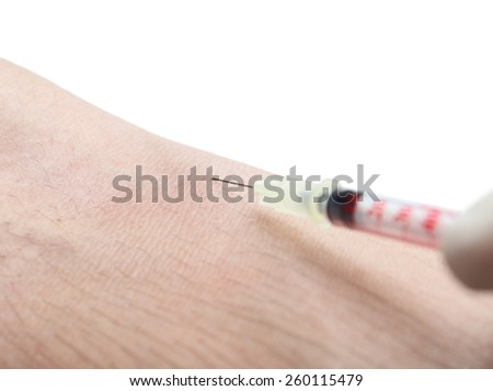 Intravenous injection isolated closeup - stock photo