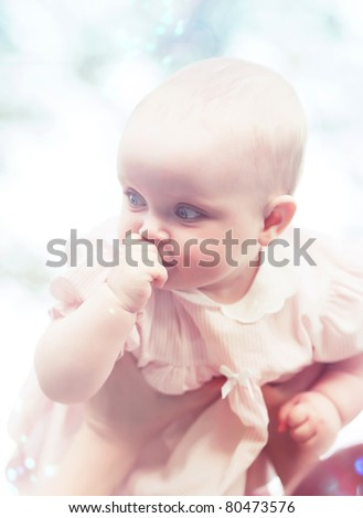 intrested child in hands - stock photo