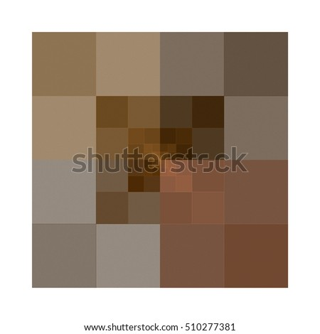 Intricate abstract brown, tan and peach square tile / design on white background