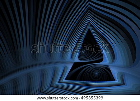 Intricate blue abstract woven spiral triangle design on black background