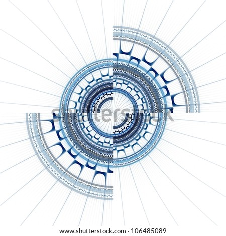 Intricate blue and grey abstract cog / wheel on white background