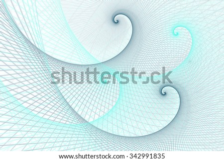 Intricate blue / cyan abstract woven spiral waves on white background  - stock photo