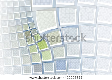 Intricate blue / green abstract checkered tiled design on white background - stock photo