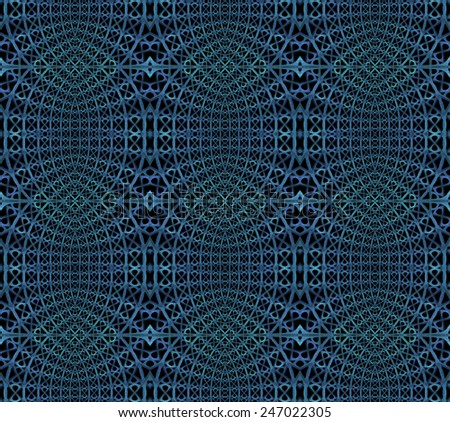 Intricate blue / green and teal abstract woven design on black background (tile able) - stock photo