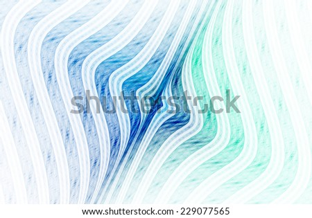 Intricate blue / green / teal abstract woven curved design on white background  - stock photo