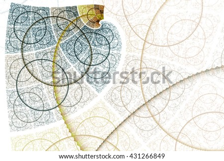 Intricate blue, green, teal and gold abstract disc / spiral / textured design on white background  - stock photo