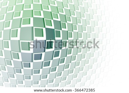 Intricate blue / green / teal bulging 3D tiled block design on on white background  - stock photo
