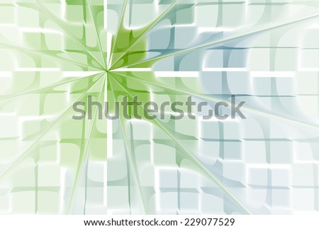 Intricate blue / lime green  / flower design on white background  - stock photo