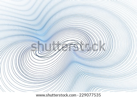 Intricate blue / navy string  / ripple design on white background - stock photo