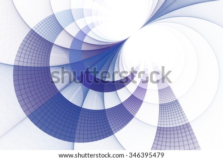Intricate blue / purple abstract 3D disc design on white background